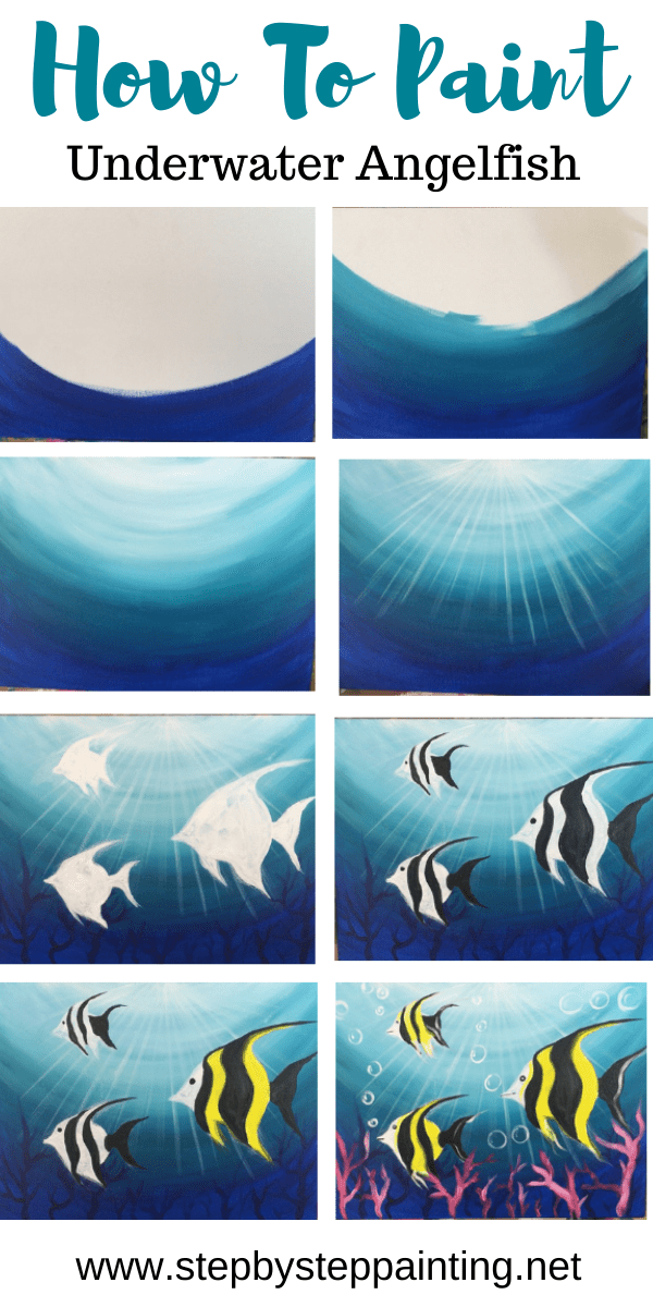 Underwater Painting Step By Step Acrylic Tutorial With Pictures Underwater Painting Canvas Painting Tutorials Canvas Art Painting