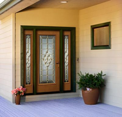 Custom Wood Entry Door With Decorative Glass And Double Sidelites Request Your Own Design For A T Exterior Doors With Glass Exterior Doors Painted Front Doors
