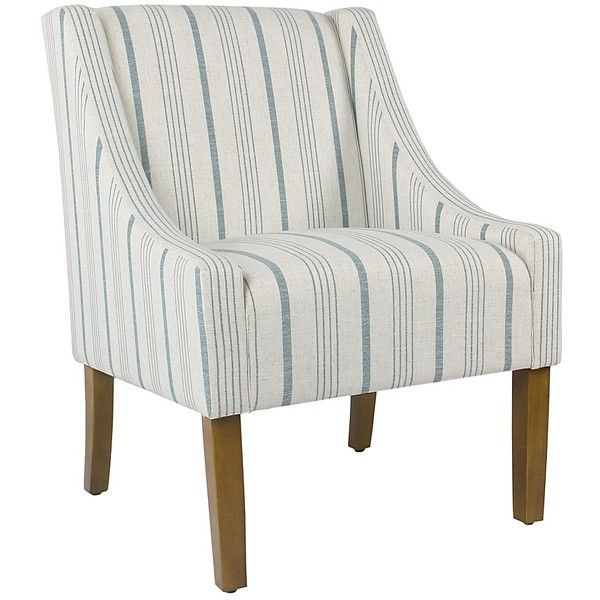 Blue Calypso Stripe Swoop Accent Chair 160 Liked On Polyvore Featuring Home Furniture C Upholstered Accent Chairs Stripe Accent Chair Blue Accent Chairs