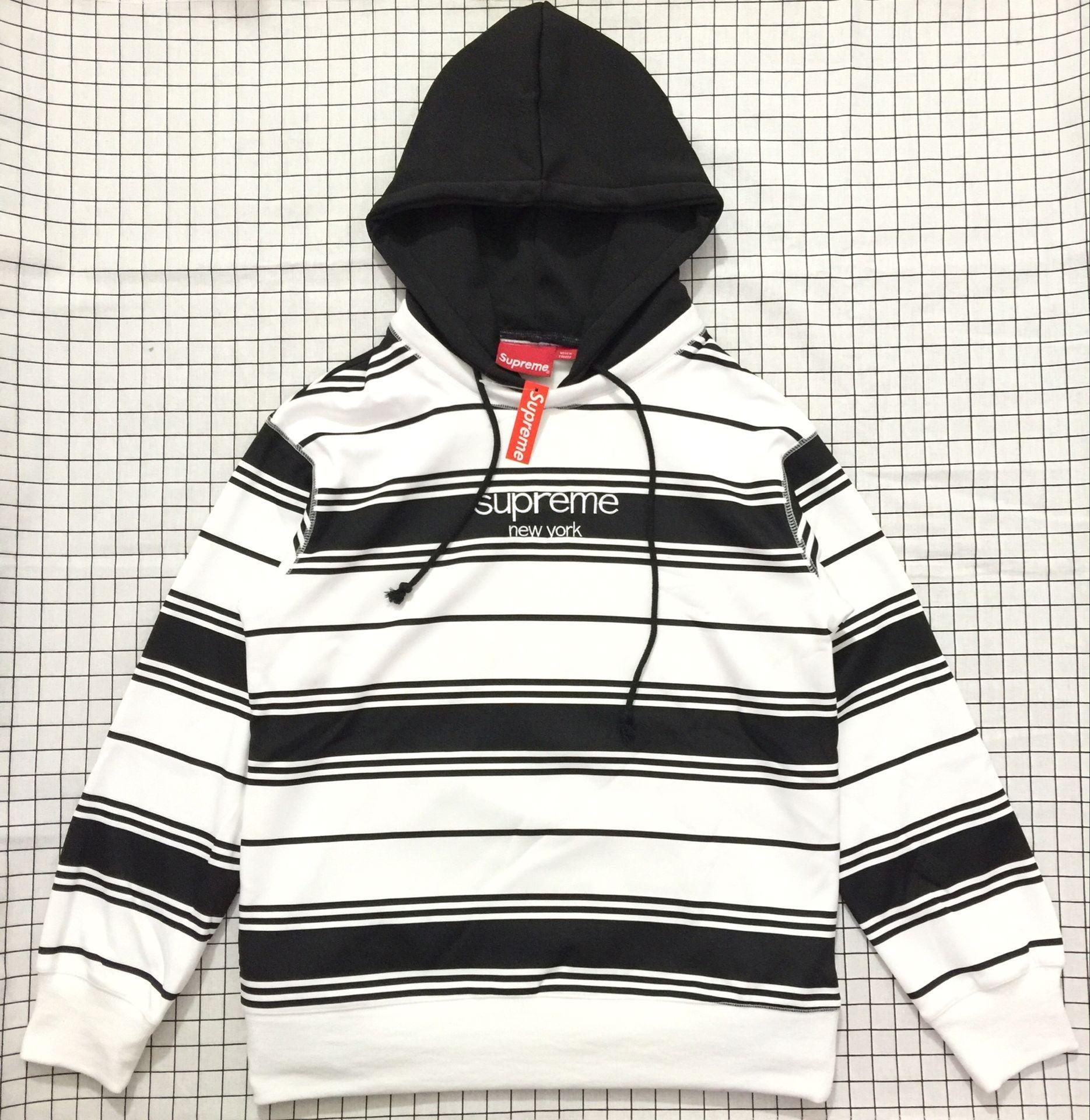 Supreme White Black Striped Hooded Crewneck Sweatshirt Supremesweatshirts Supremeoutfits Supremehoodie Whiteblackstripedsweater Http Www Sanalpazar Urunler [ 1920 x 1869 Pixel ]