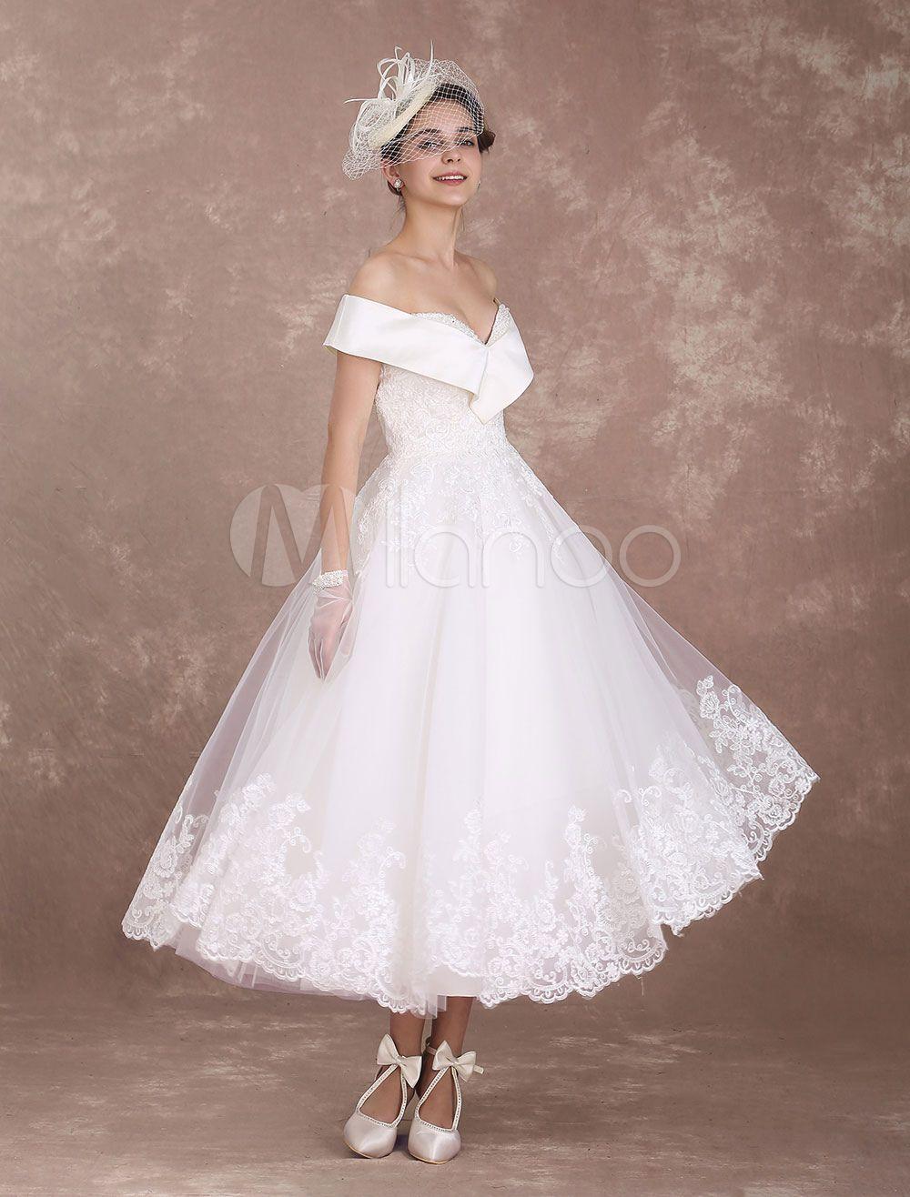 Vintage Wedding Dresses Off The Shoulder Short Bridal Dress 1950 S Lace Applique Beaded Short Bridal Dress Short Wedding Dress Vintage Tea Length Wedding Dress