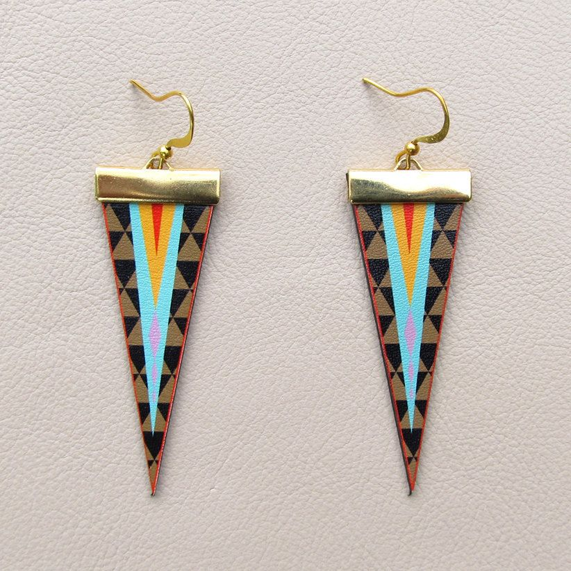 Leather Earrings - Geometric Triangles.