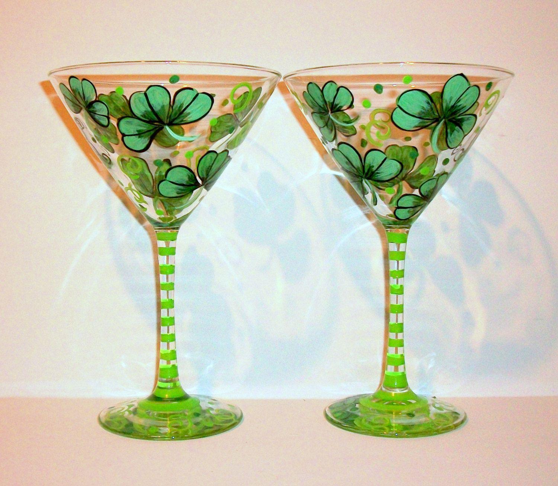 047e8c07f96 Hand Painted Martini Glasses Shamrock or 4 Leaf Clover Shamrocks St.  Patrick s Day Handpainted Set of 2 -12 oz. Martini Glassware Glasses by ...