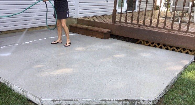 How To Turn A Bland Concrete Patio Into Something Special Concrete Patio Makeover Concrete Patio Concrete Stain Patio