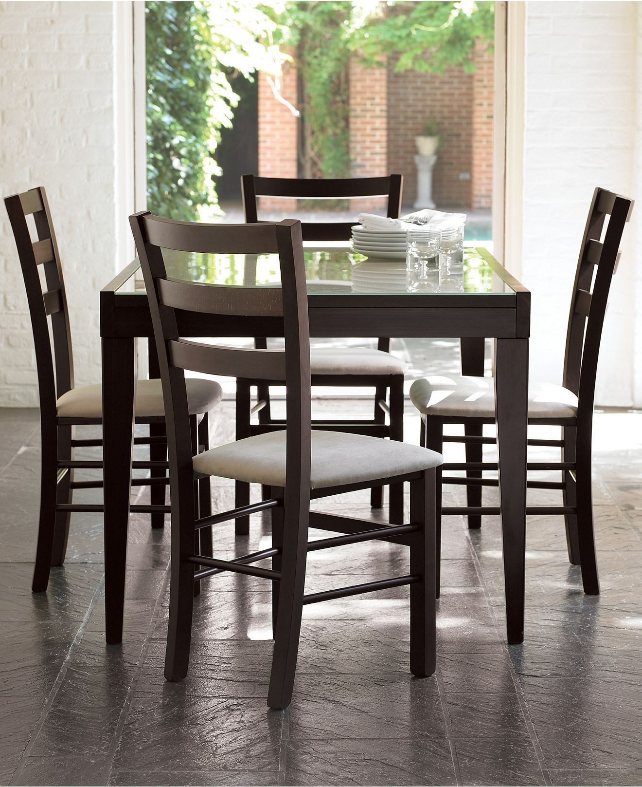 Cafe Latte 5 Piece Dining Set Dining Table And 4 Slatback Chairs