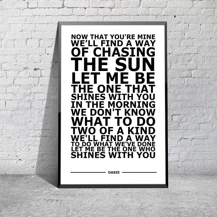 Lyric oasis lyrics masterplan : Oasis - Slide Away White Typography Song Lyric Art Poster Print A4 ...