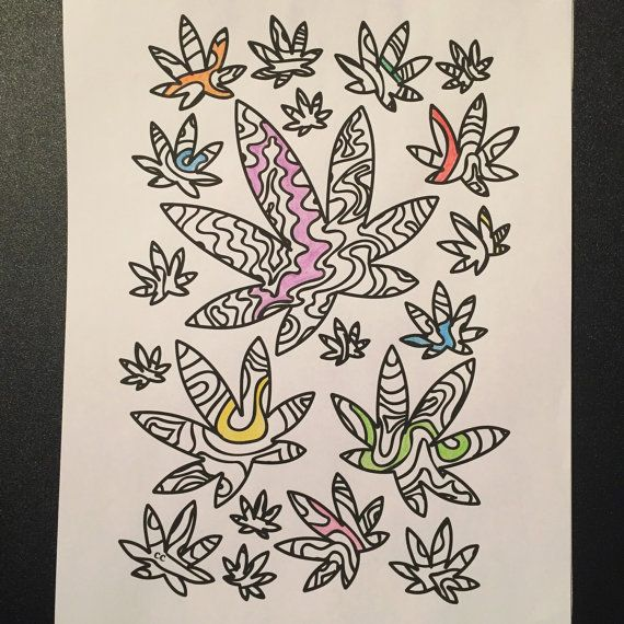 40 marijuana themed coloring pages for stoners instant digital download of color me cannabis