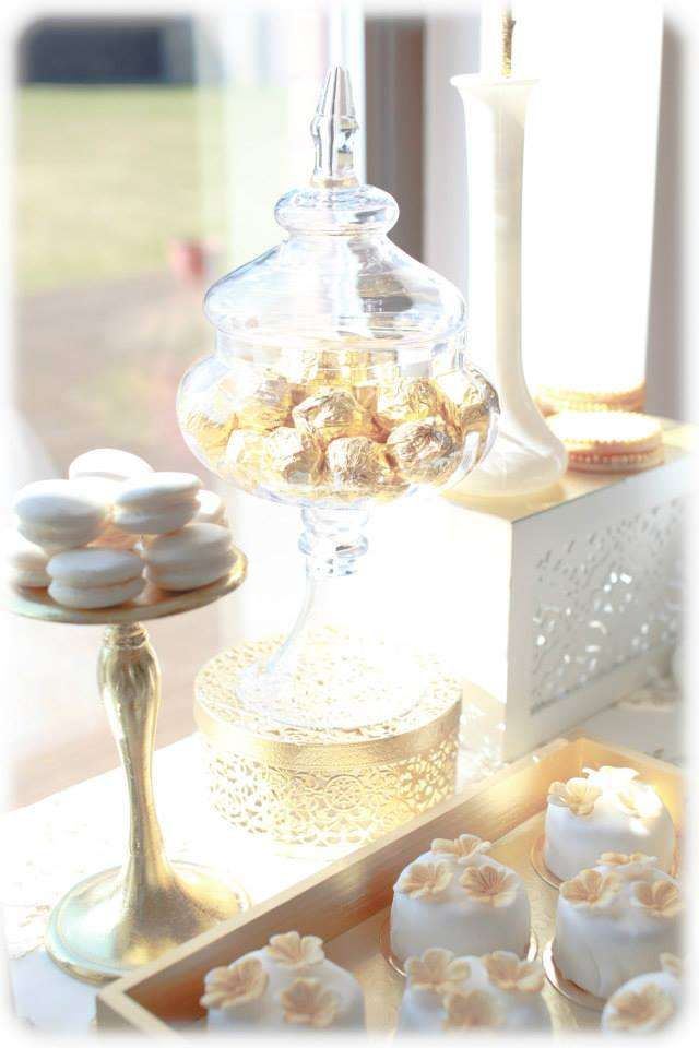 gold and white Birthday Party Ideas | Photo 3 of 15 | Catch My Party