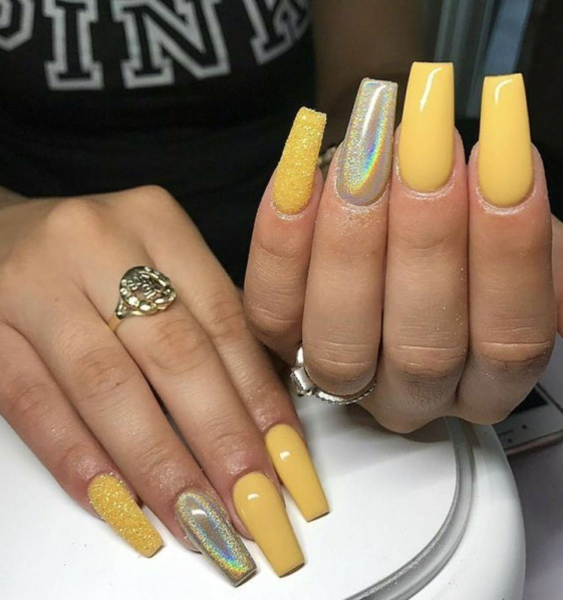 Yellow Acrylic Coffin Shape With Images Long Square Nails Coffin Shape Nails Yellow Nails