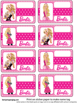 Name Tag Party Decorations Barbie