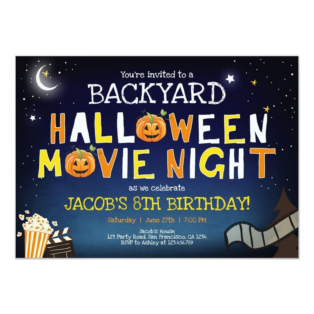 Backyard Halloween Movie Night Scary Boy Birthday