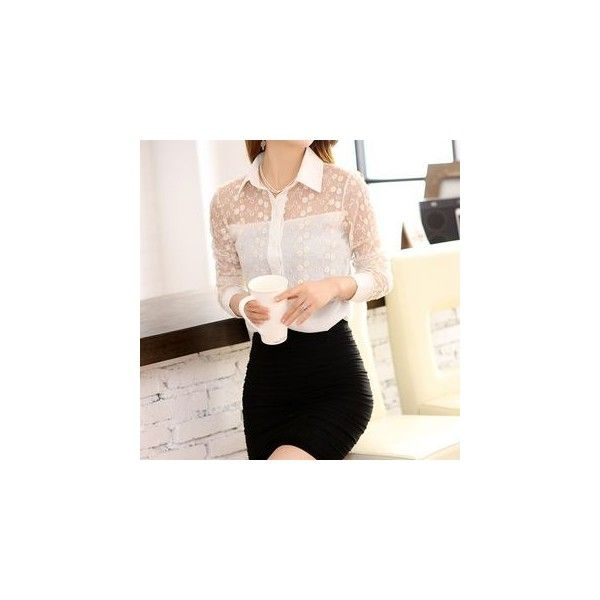 Lace Panel Long-Sleeve Blouse (70 SEK) ❤ liked on Polyvore featuring tops, blouses, women, chiffon sleeve top, pink long sleeve top, lace inset top, pink chiffon blouse and long sleeve chiffon blouse