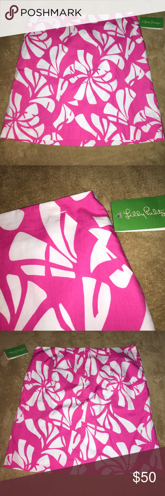 """Lilly Pulitzer skirt. NWT Women's Daquiri Pink. Simple skirt. Pockets on both front sides. Size 4. Waist 31"""". Length 18"""". 100% Cotton. Lilly Pulitzer Skirts A-Line or Full"""