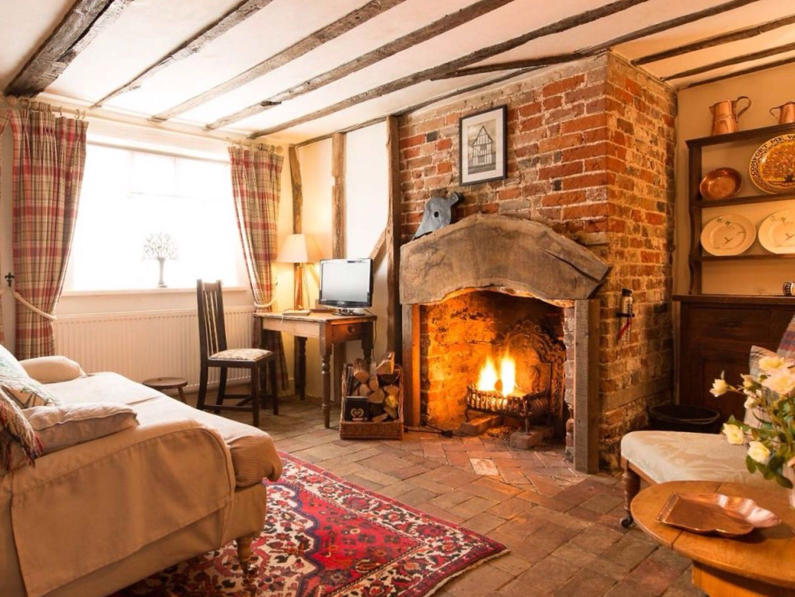Old Brick Fireplace Cottage Living Rooms Country Living Room Cottage Style Living Room