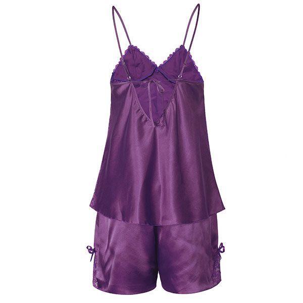 Women Sexy Satin Spaghetti Strap Sleepwear Deep V Lace Bowknot Shorts Nightwear sets