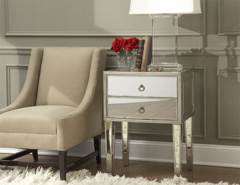Garbo Mirrored Side Table From Glamfurniture 719 00 Measures 16 X22