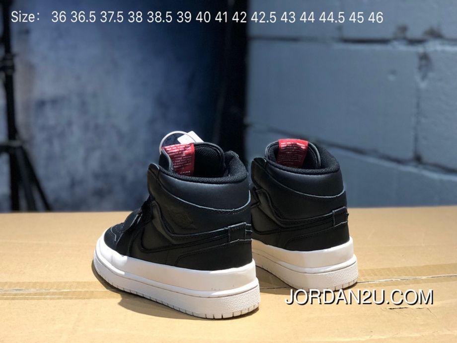 668b7c0b391903 Full Grain Leather-Air Jordan 1 Re Hi Double Strp 1 Velcro Aj1 Black White