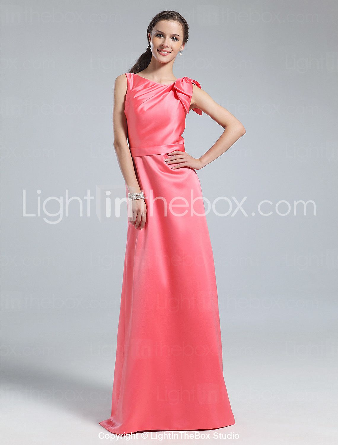 Floor-length Satin Bridesmaid Dress - Watermelon Plus Sizes / Petite ...