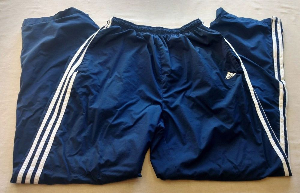 1ece2c1055ce Mens Adidas Lined Wind Track Pants Blue 3 Stripes Size Large Warmup Athletic  EUC  adidas  Pants