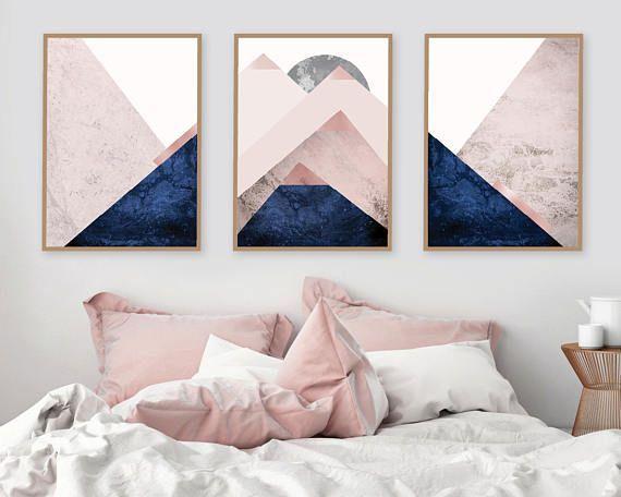 Printable Art Downloadable Prints Set Of 3 Mountains Blush Etsy Living Room Art Home Decor Navy Bedrooms