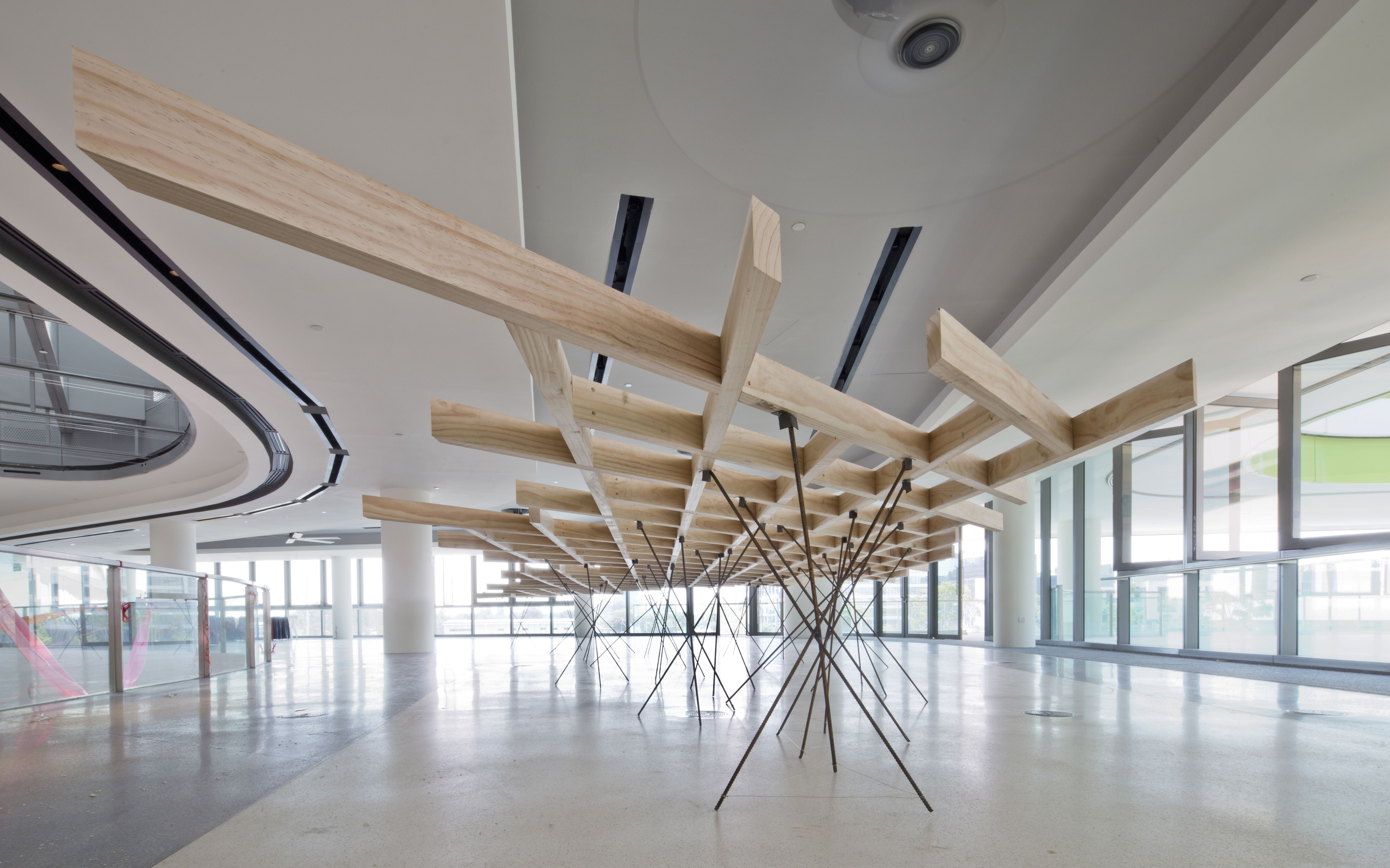 Flying wooden cloud, standing on thin 10 mm rebars. #architecture #exhibition #sutd #studs #wood #raw #rebars