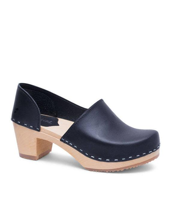 d474a80de1c Wooden Clogs for Women   High Heel Womens Slip Ins   Leather Shoes   Closed  back Swedish Clogs   Nat