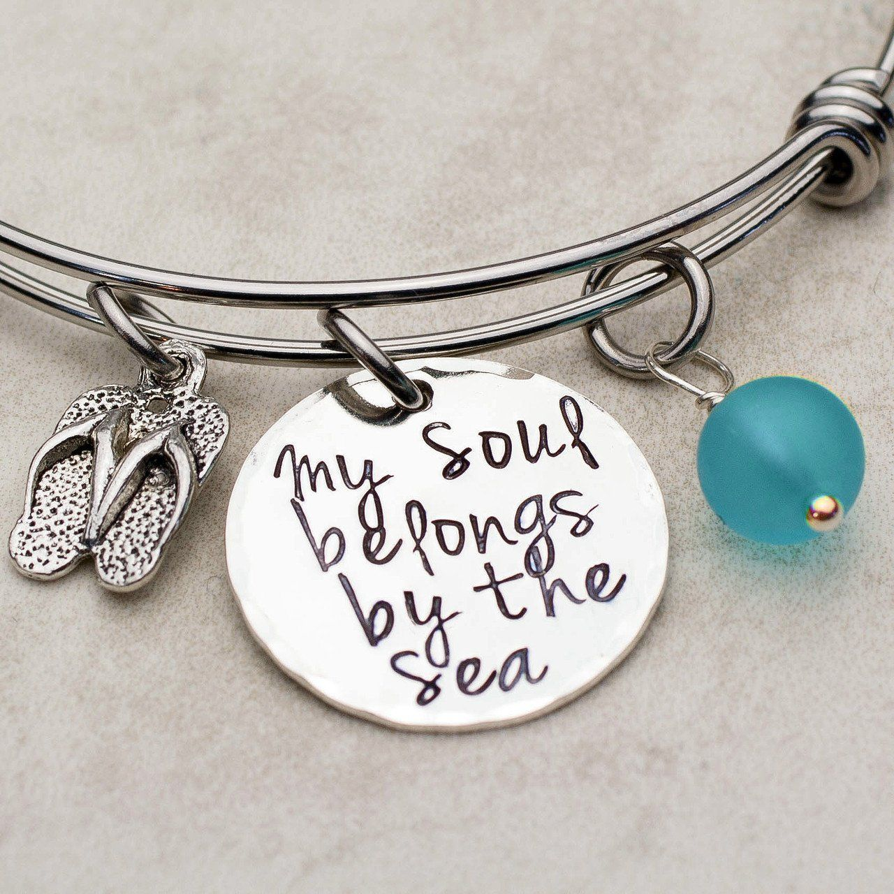 My soul belongs by the sea adjustable bangle charm bracelet bangle