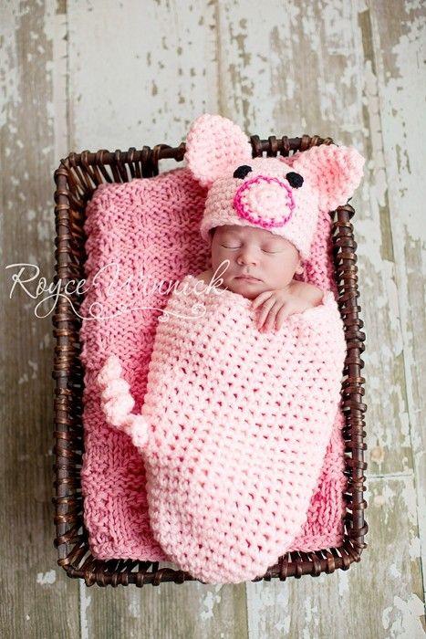 Crochet Piggy Set - Cocoon and Beanie baby Newborn Crochet ...