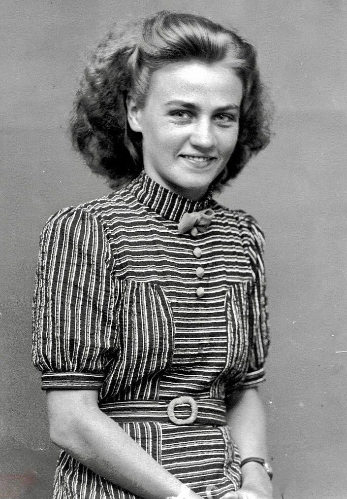 Vintage 1940s Color Block Swag Dress: 1940s Dresses Image By 1930s/1940s Women's Fashion