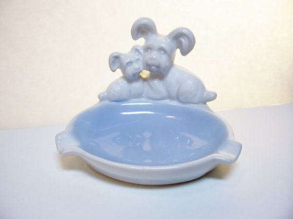 Vintage Terrier Dogs Ashtray Porcelain Gerold Porzellan by umeone