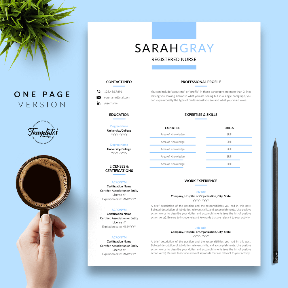 """Nurse Resume for Word & Pages """"Sarah Gray"""" Resume"""