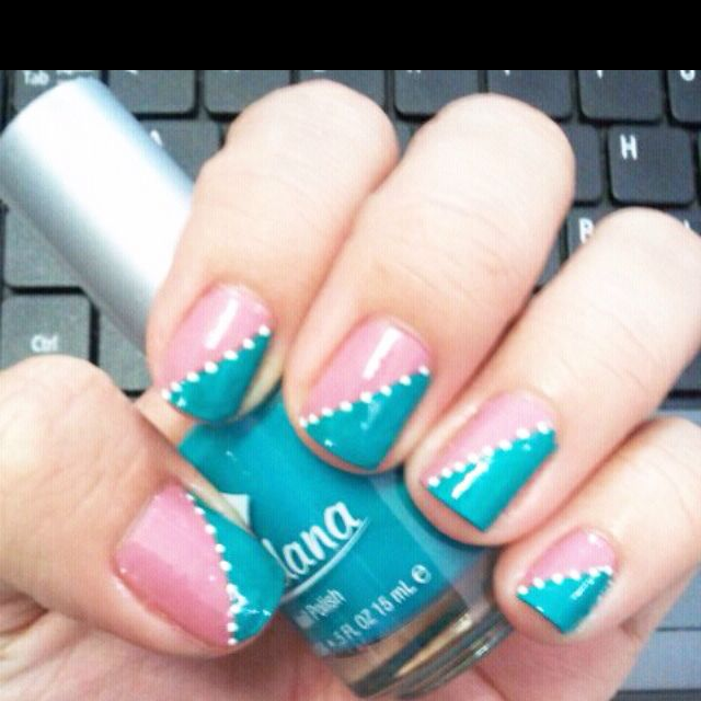 Teal & pink with polka dots