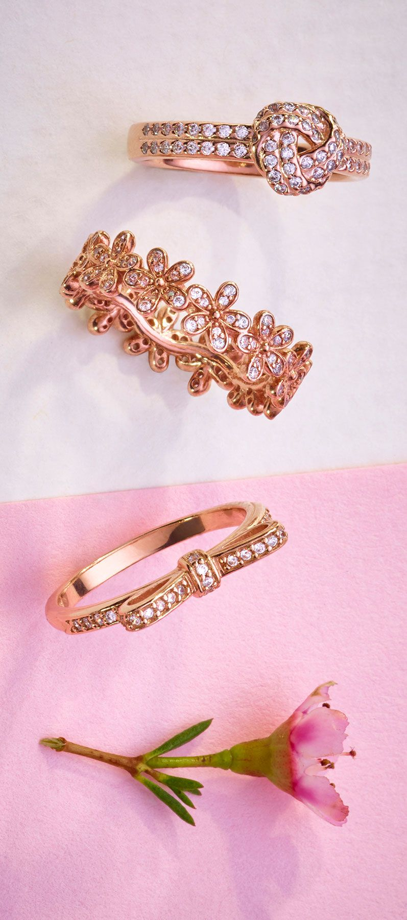 Stack your favourite pieces of PANDORA rose rings for a statement ...