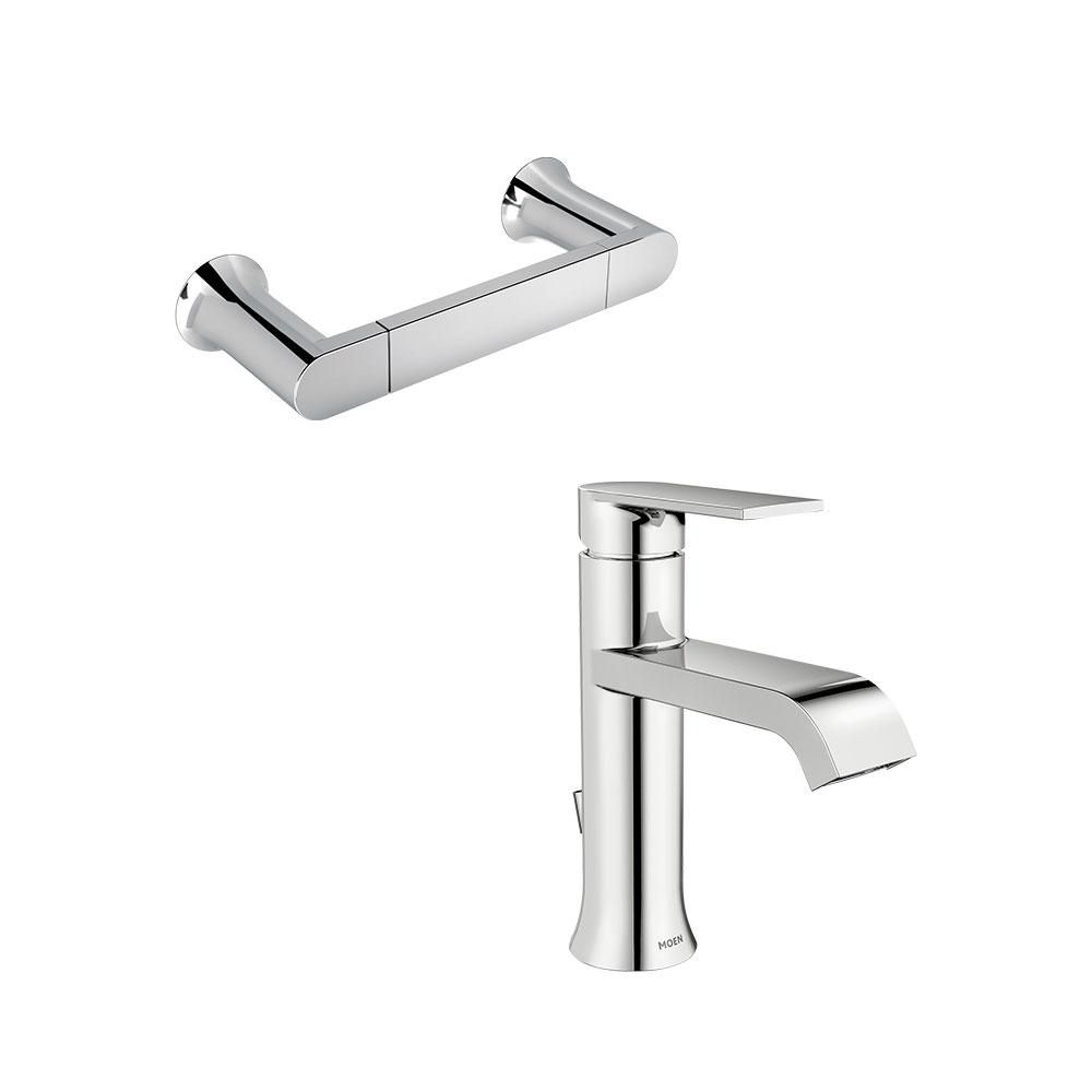 Moen Genta Single Hole Single Handle Bathroom Faucet With Towel Ring In Chrome Ws84760 Smtr The Home Depot In 2021 Single Handle Bathroom Faucet Bathroom Faucets Cleaning Faucets Moen single handle bathroom faucet