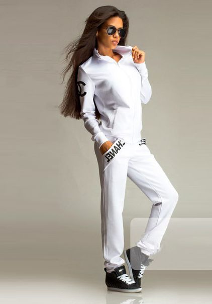 chanel tracksuit. designer sports wear high fashion chanel tracksuit in white only £34.99 at