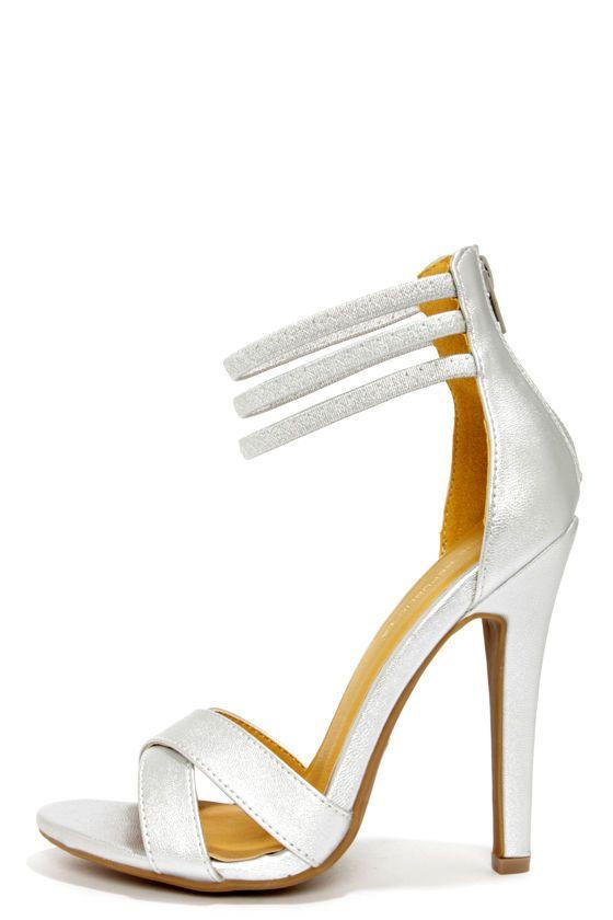 9cbd208c5d3f Shoe Republic LA Lusy Silver Ankle Strap Heels at LuLus.com!  33