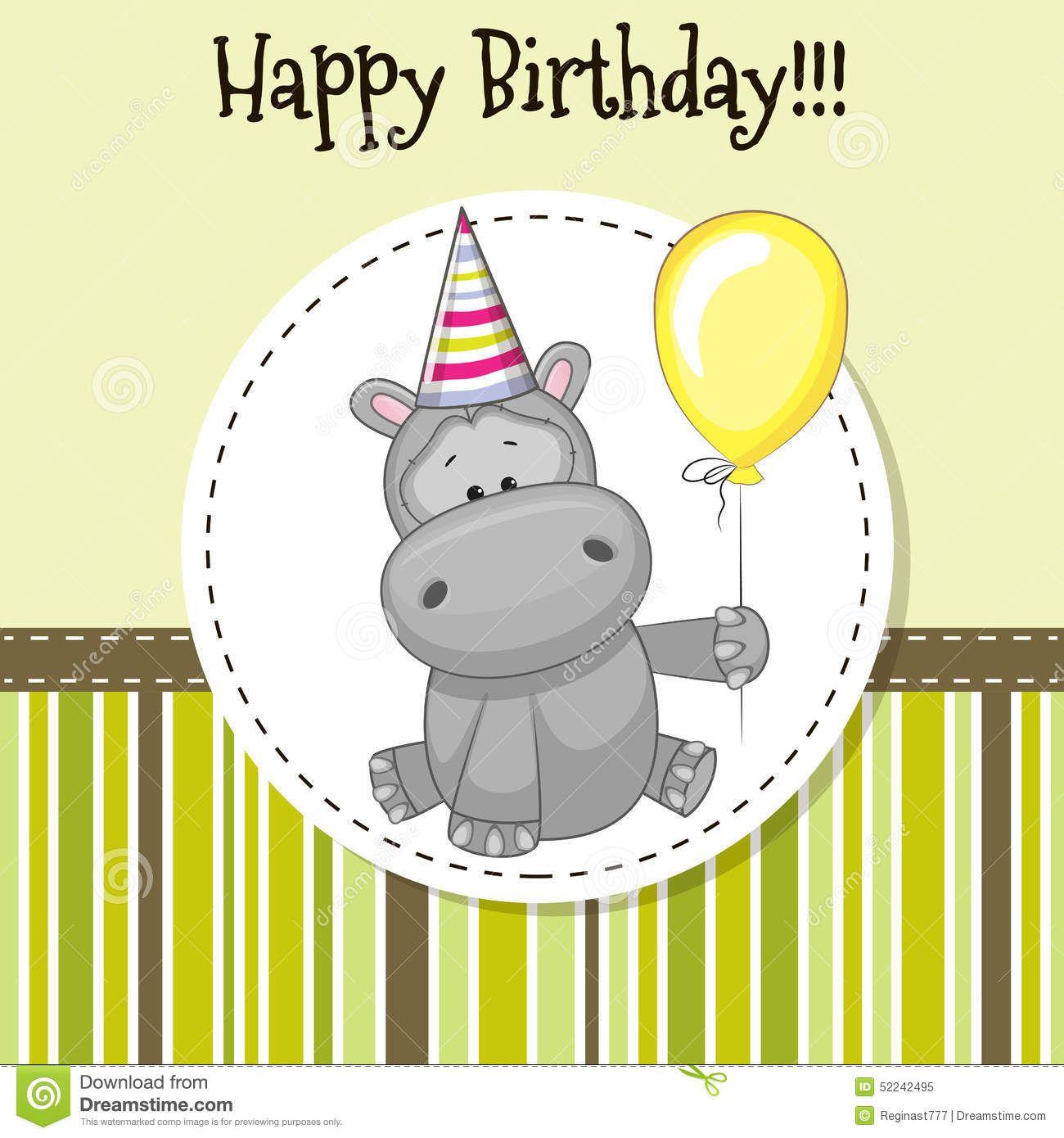 Hippo With Balloon Stock Vector Illustration Of Design 52242495 Happy Birthday Kind Alles Gute Zum Geburtstag Fotos Grußkarten Geburtstag