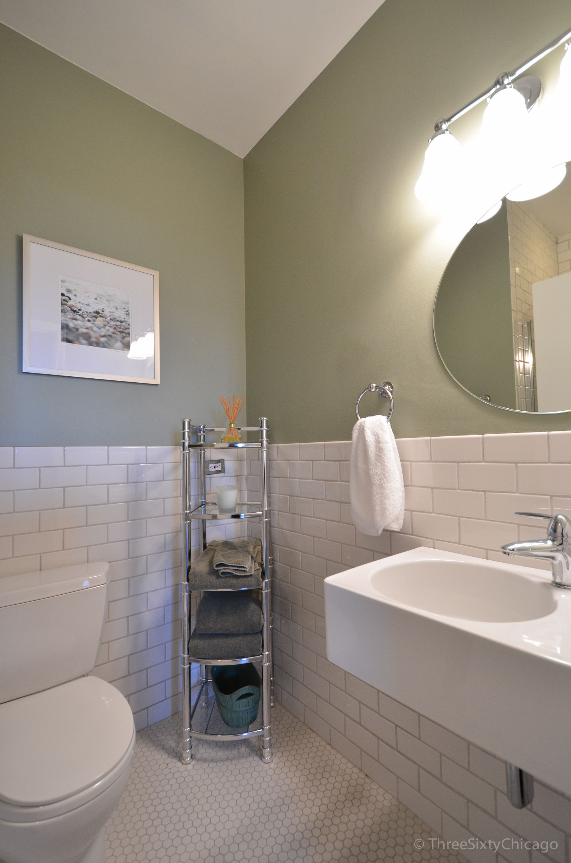 Guest bath renovation idea light moss green walls plus white guest bath renovation idea light moss green walls plus white subway tile vintage hexagonal dailygadgetfo Image collections