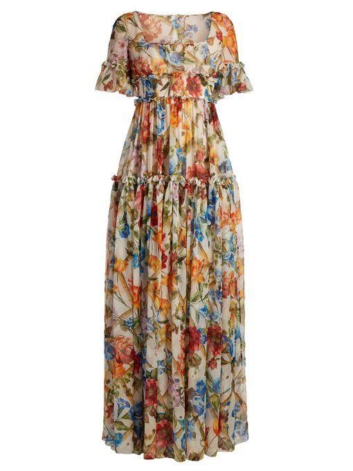 Floral-print ruffle-trimmed chiffon dress Dolce & Gabbana 5kOQFldp0
