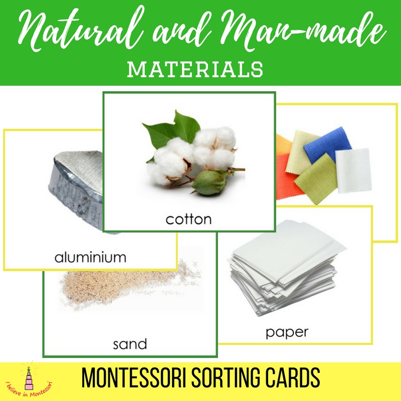 Natural And Man Made Materials Sorting Cards Obuchenie