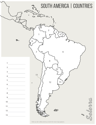 Printable South America Countries Map Quiz Pdf Science - Country map quiz