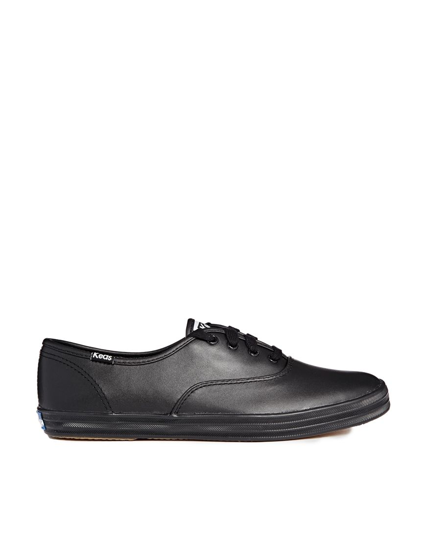 Keds Champion Core Black Leather Plimsoll Trainers