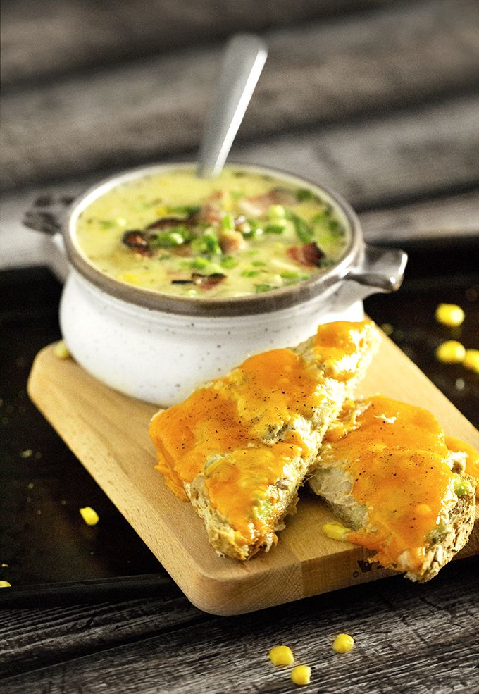 30-Minute Corn and Chicken Chowder with Tuna Melts