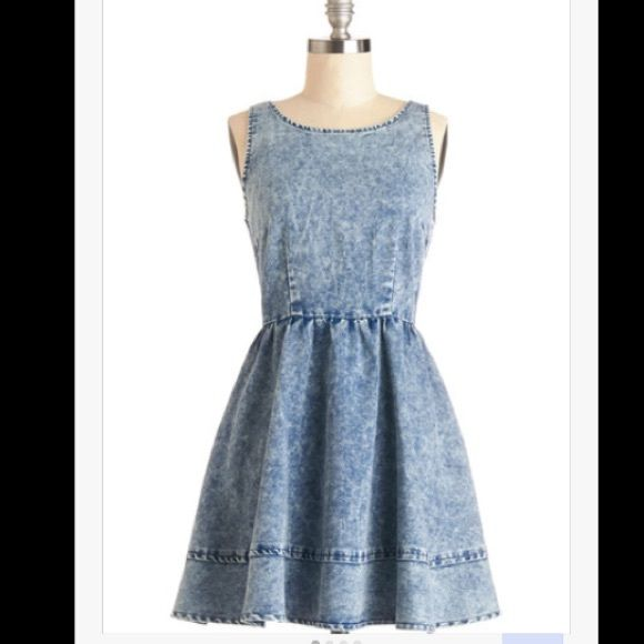 Denim Day Dress Soft denim, that holds its shape. Perfect for a summer concert, or spring picnic! Size is European 10, but Fits about a size 4, give or take a little. Only worn twice Muui Dresses Mini