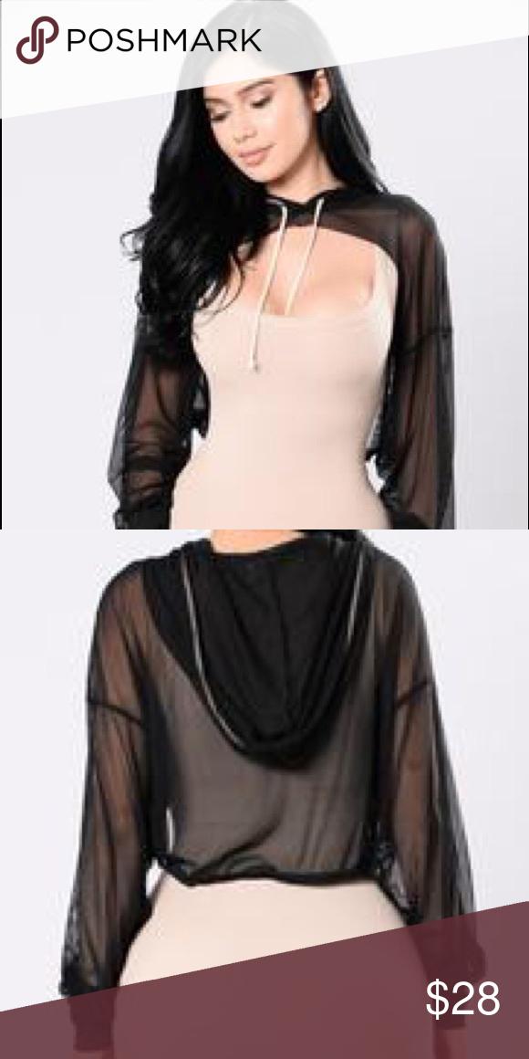 932bb24669c09 Cropped Cut-Out Mesh Hoodie - Black never worn Fashion Nova Tops  Sweatshirts   Hoodies