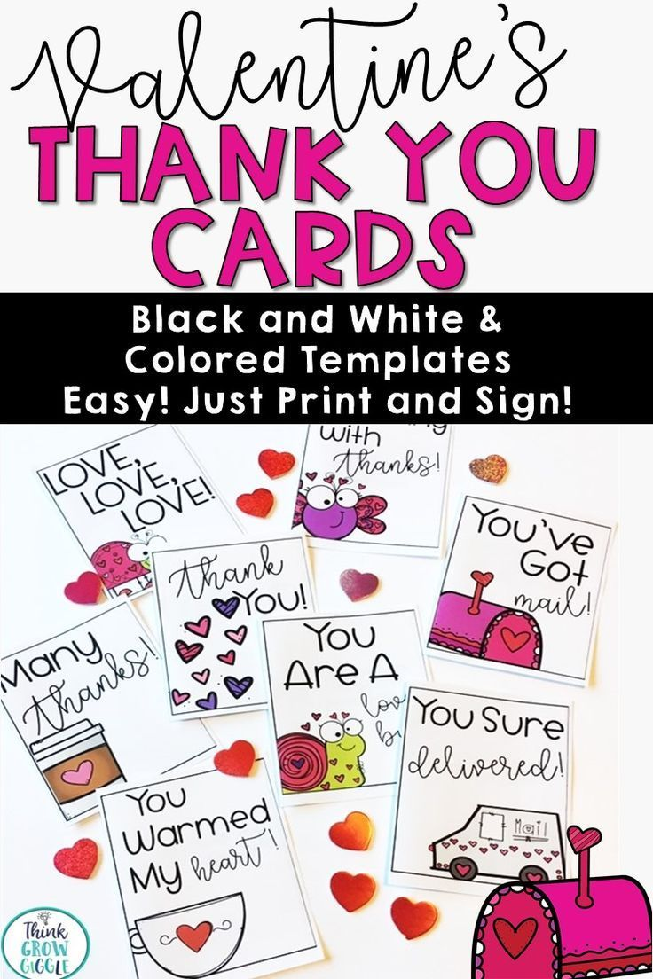 Valentine's Day Thank You Notes Thank you card design