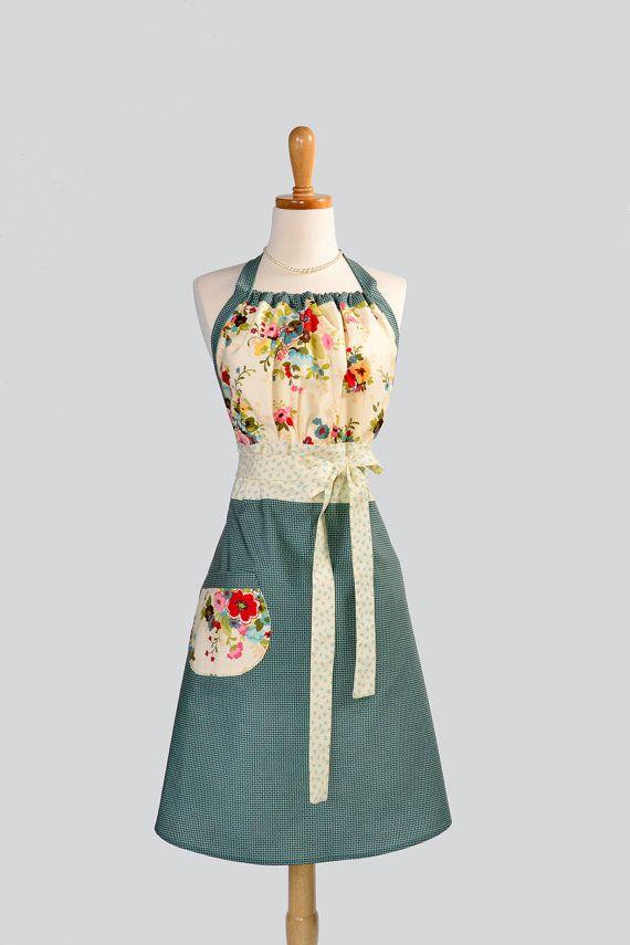 Fully lined Chore Girl Apron Pattern Vintage Style Ruffled Apron Shabby Chic Apron Boho Print Ruffled Apron FULL KITCHEN APRON