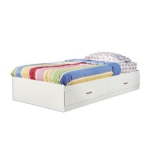White Twin Mates Storage Bed Logik Platform Bed With Storage