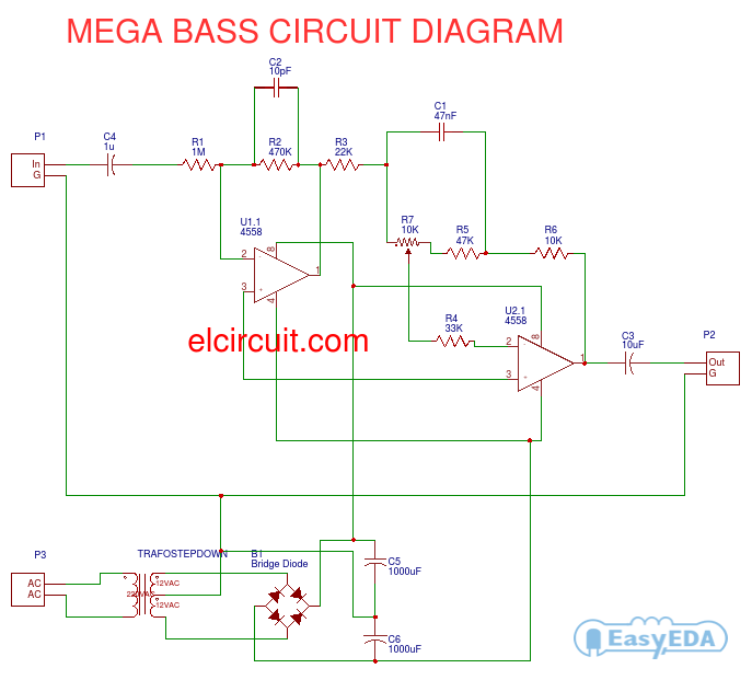 mega bass circuit using 4558 circuits bass and circuit diagram rh pinterest com bass treble circuit diagram 4558 bass guitar circuit diagram