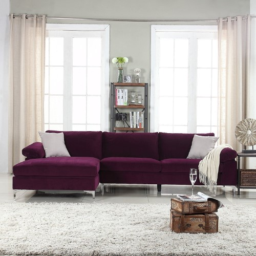 Modern Large Velvet Fabric Sectional Sofa L Shape Couch With